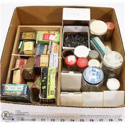 FLAT VINTAGE TACKS, NAILS, SCREWS + BOXES