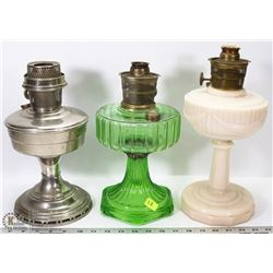 GROUP OF 3 VINTAGE OIL LAMPS NO SHADES