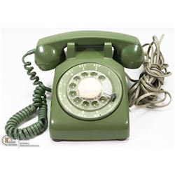 OLIVE GREEN 1970'S ROTARY PHONE
