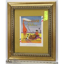 FRENCH CARTOON ADVERTISMENT FRAMED PICTURE