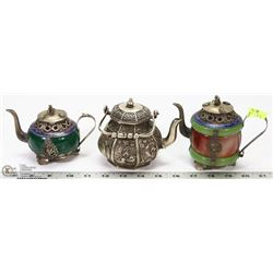 LOT OF 3 MINI ORIENTAL TEAPOTS - ONE MADE WITH