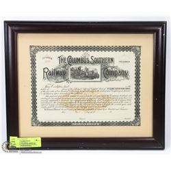 FRAMED THE COLUMBUS SOUTHERN RAILWAY COMPANY
