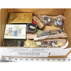 BOX OF NATURAL STONES & TRINKET BOXES