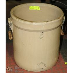 LARGE ANTIQUE CROCK WITH WOOD HANDLES