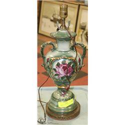 VINTAGE FLORAL ORNATE PAINTED LAMP