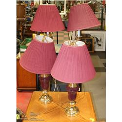 4PC BURGUNDY AND BRASS LAMP SET INCL 2 TABLE & 2
