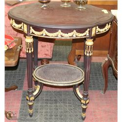ESTATE SOLID WOOD END TABLE WITH GOLD TONE ACCENTS
