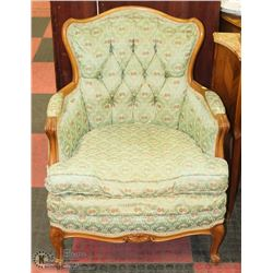 VINTAGE FRENCH PROVINCIAL STYLE GREEN FABRIC SOFA