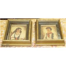 """PAIR OF ANTIQUE FRAMED PICTURES 7.5"""" X 6.5"""""""