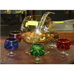 MULTI COLORED PUNCH BOWL SET FROM GERMANY.