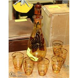 AMBER ESTATE DECANTER WITH 6 GLASSES