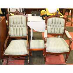 3PC SOLID WOOD AND FABRIC CARVED CHAIR AND OTTOMAN