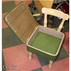 SMALL WOODEN CHAIR WITH UNDERSEAT STORAGE