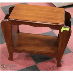 REFINISHED VINTAGE SIDE TABLE/MAGAZINE RACK.