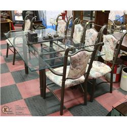 METAL AND GLASS TABLE WITH 6 CHAIRS