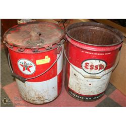 5 GAL ESSO & 5 GAL TEXACO OIL CANS