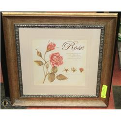 SQUARE ROSE QUOTE FRAMED PICTURE. H