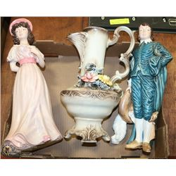 VINTAGE JUG AND LARGE STATUES OF BOY BLUE AND