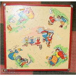 VINTAGE CHILDS TABLE WITH STORY BOOK CHARACTERS.