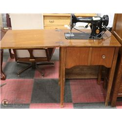 ANTIQUE SINGER SEWING MACHINE & TABLE FROM 1949