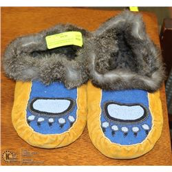 PAIR OF HANDMADE BEADED MOCCASINS WITH BEAR CLAW