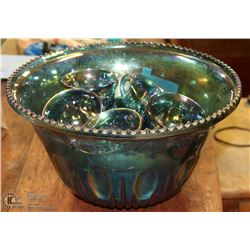 INDIANA BLUE CARNIVAL GLASS PUNCH BOWLS SET