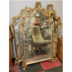 3 GOLD TONE CARVED FRAME MIRRORS , CATHEDRAL STYLE