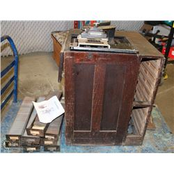ANTIQUE ADDRESS-O-GRAPH MACHINE WITH DRAWERS.