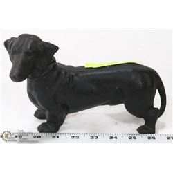 VINTAGE BLACK CAST IRON DACHSHUND BANK