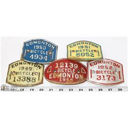 LOT OF 5 BICYCLE LICENSE PLATES - 1948, 1949, 1950