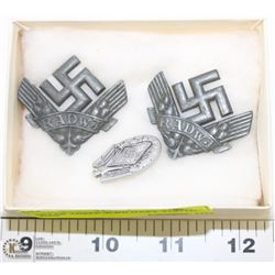 SET OF THREE WWII NAZI YOUTH PINS