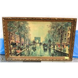"ANTIQUE 1800S ""THE GLAMOUR OF PARIS"" FRAMED SIGNED"