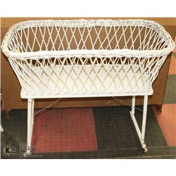 "ANTIQUE BABY BASSINET ON WHEELS-30""HX36""LX19""W."