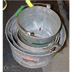 LOT OF 4 VINTAGE GALVANIZED BUCKETS