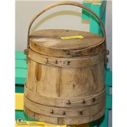 VINTAGE FARMERS STORAGE BUTTER KEEPER WOOD
