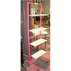METAL & WOOD 4 SHELF SHELVING UNIT,