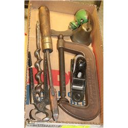 BOX OF OLD TOOLS.