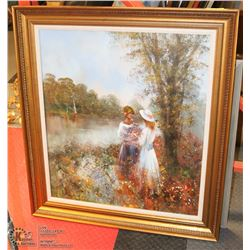 2 GIRLS WITH FLOWERS OIL FRAMED PAINTING