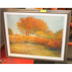 "PAINTED FALL SCENE FRAMED 36""X30""."