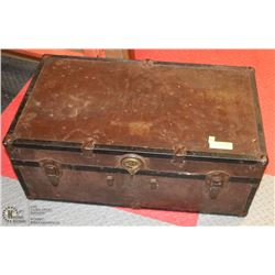 ANTIQUE BLACK & BROWN TRUNK