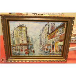 SEVILLE SAEZ SIGNED PAINTING OF PARIS STREET VIEW