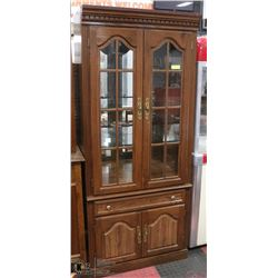 WOOD GLASS DOOR CHINA CABINET WITH LIGHTING &