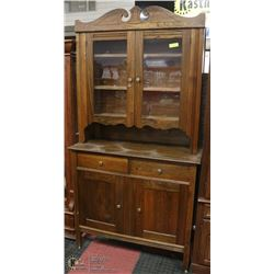 ANTIQUE HARDWOOD HUTCH WITH TOP.