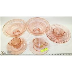 8PC ROSE DEPRESSION GLASS DISHES INCL 2 MIXING