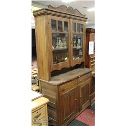 ANTIQUE OAK HUTCH WITH TOP.