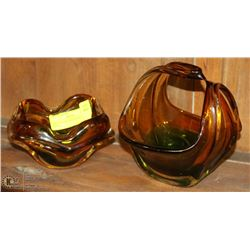 PAIR OF FANCY ART GLASS CANDY BOWLS