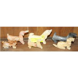 COLLECTION OF ONYX & ALIBASTER DOGS
