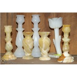 COLLECTION OF ONYX CANDLE HOLDERS