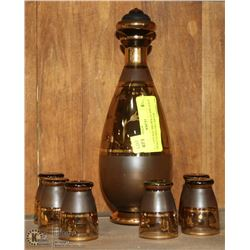 7PC VINTAGE BROWN GLASS GOLD TRIM ETCHED DECANTER