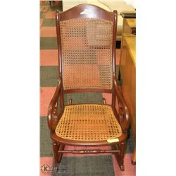 VINTAGE WOOD AND WICKER ROCKING CHAIR